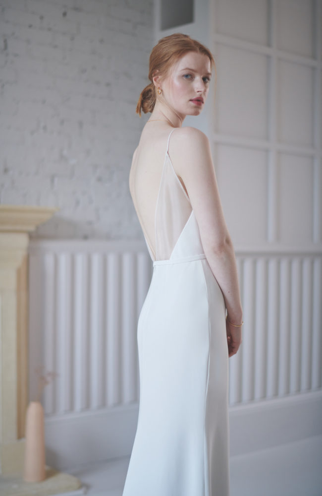 backless wedding dress with sheer detail