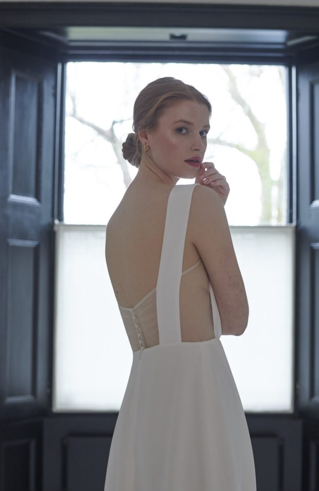 simple bridal dresses made in silk backless