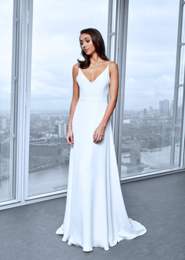 strappy silk simple wedding dress