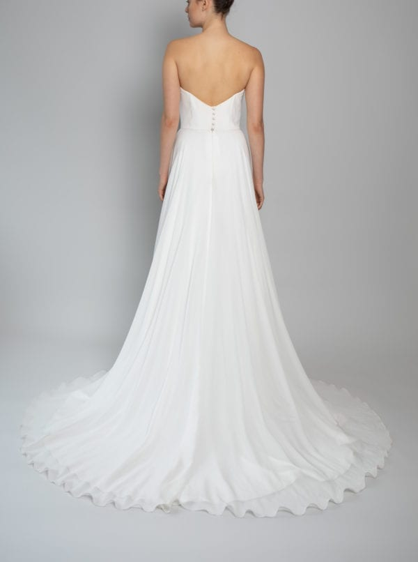 Corset bridal dress in silk and georgette