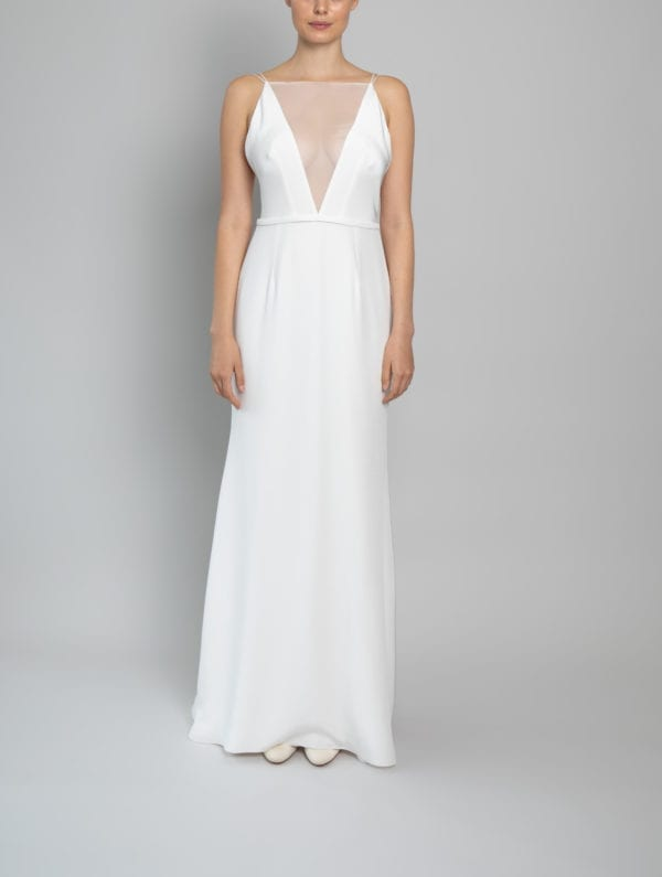 high neck low back wedding dress silk chiffon