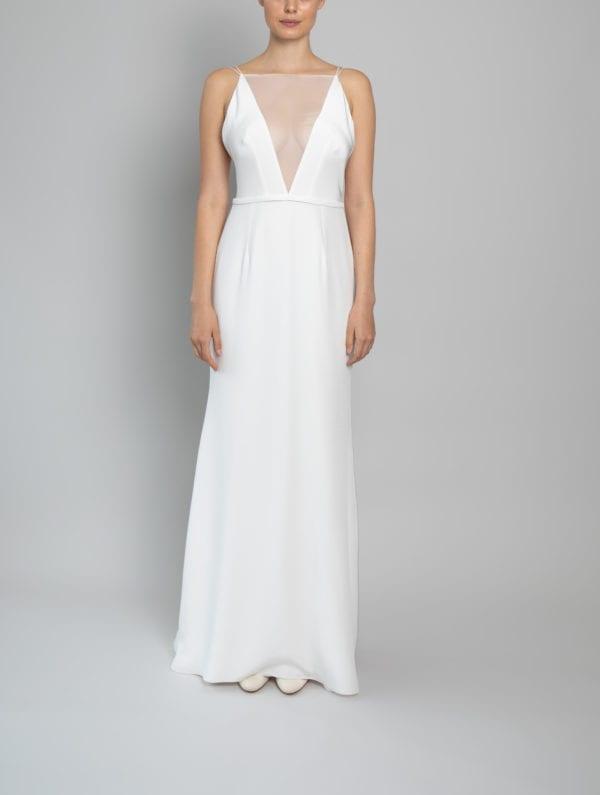 high neck low back wedding dress silk chiffon