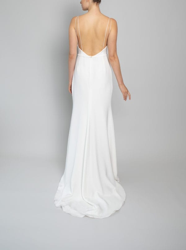backless fitted wedding dress silk