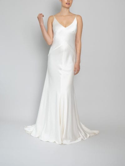 spaghetti strap wedding dress bias cut in silk