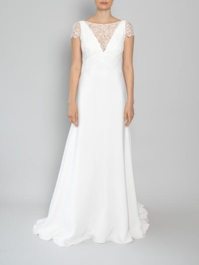 cap sleeve wedding dress in lace