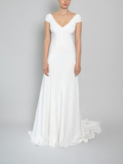 v neckline bias wedding dress with cap sleeves