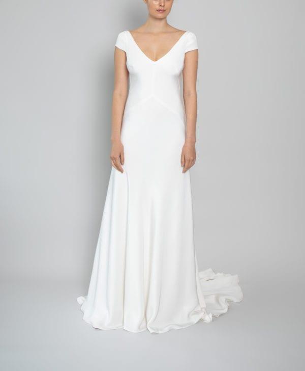 v neckline bias wedding dress with cap sleeves