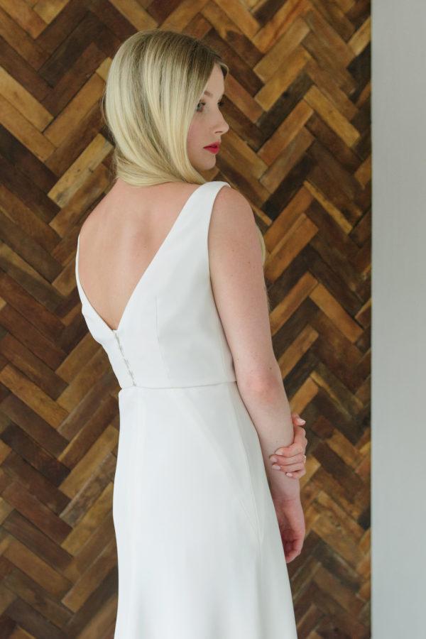 boat neck silk wedding dress with bias cut skirt