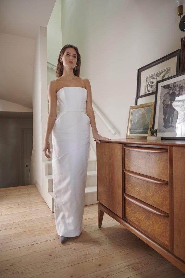 strapless structured wedding dress