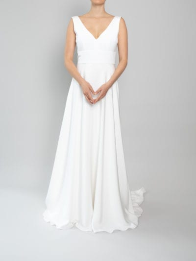 simple v neck wedding dress
