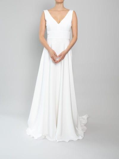 simple v neck wedding dress