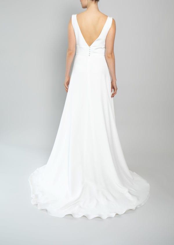 V neck wedding gown