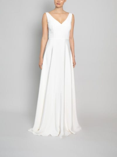 deep v neck wedding dress
