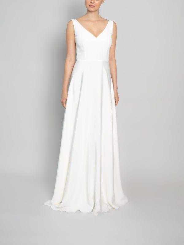deep v neck wedding dress