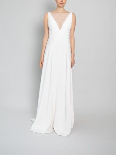 high neck silk wedding dress