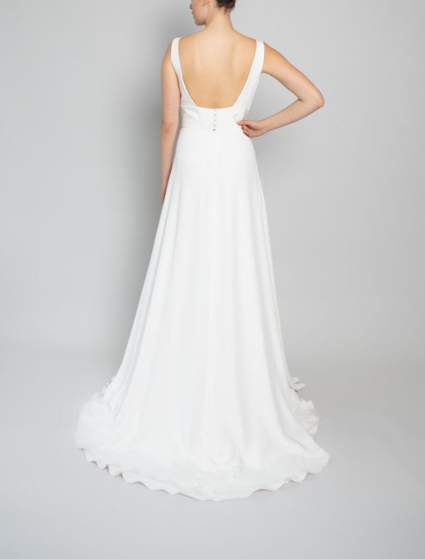 high neck satin wedding dress