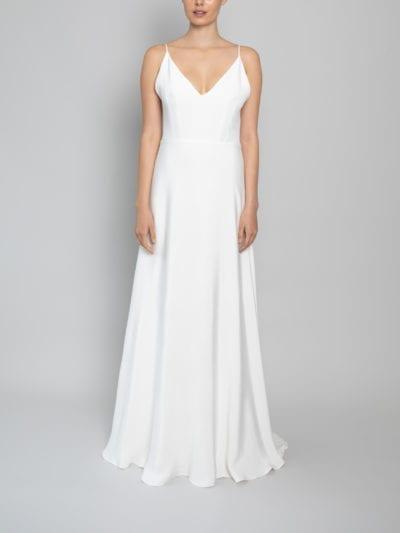 spaghetti strap wedding dress with lace