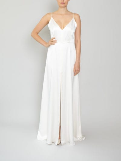 a line spaghetti strap wedding dress