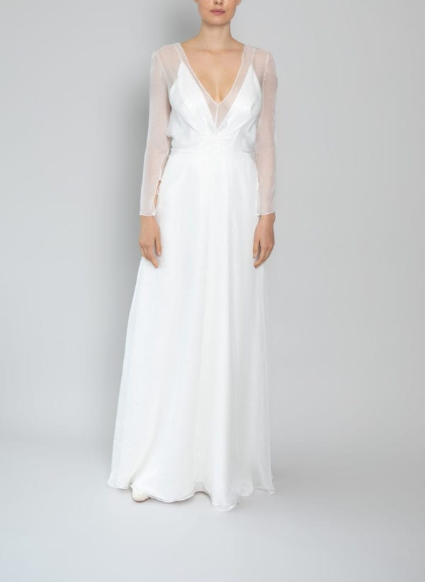 plunging v neck wedding dress