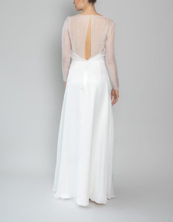 long sleeve v neck wedding dress