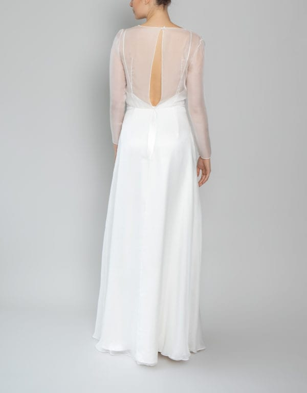 long sleeve v neck wedding dress