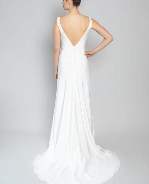 simple high neck wedding dress