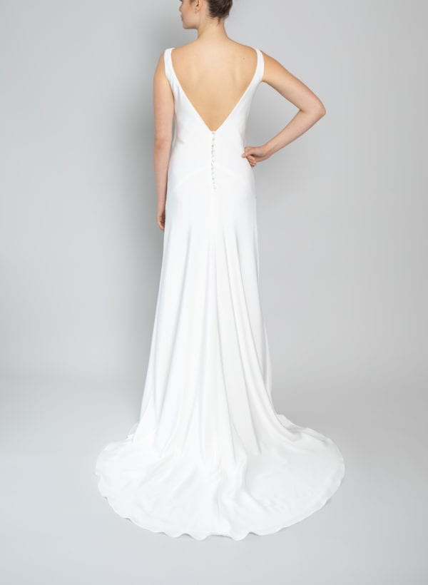 simple high neck wedding dress