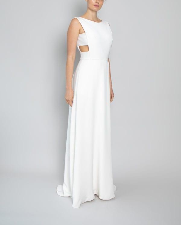 high neck open back wedding dress