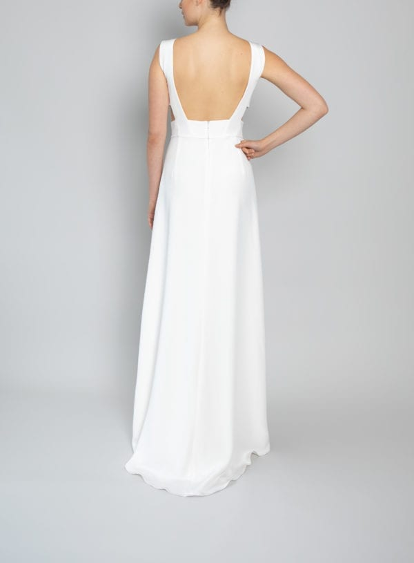 high neck backless wedding dress