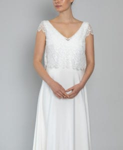 bridal top and skirt lace cap sleeve