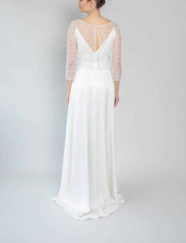 bridal overlay top lace long sleeve