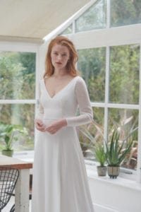 chiffon wedding dress with sleeves
