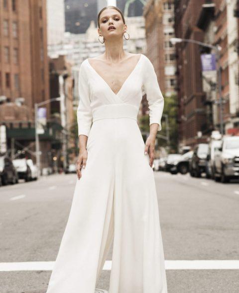 White v-neck bridal jumpsuit