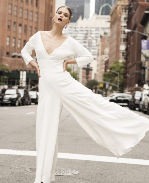 v-neck wedding jumpsuit with sleeves