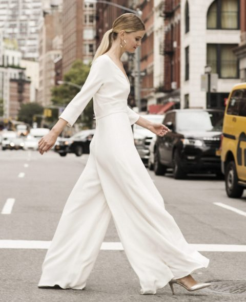 white bridal jumpsuit with sleeves
