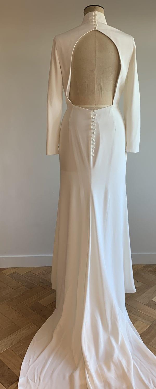 high collar plus size wedding dress