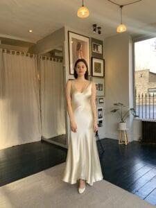 short satin wedding dress