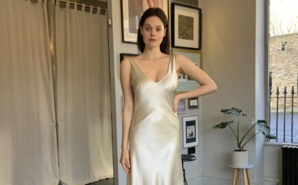 silk civil wedding dress short bias
