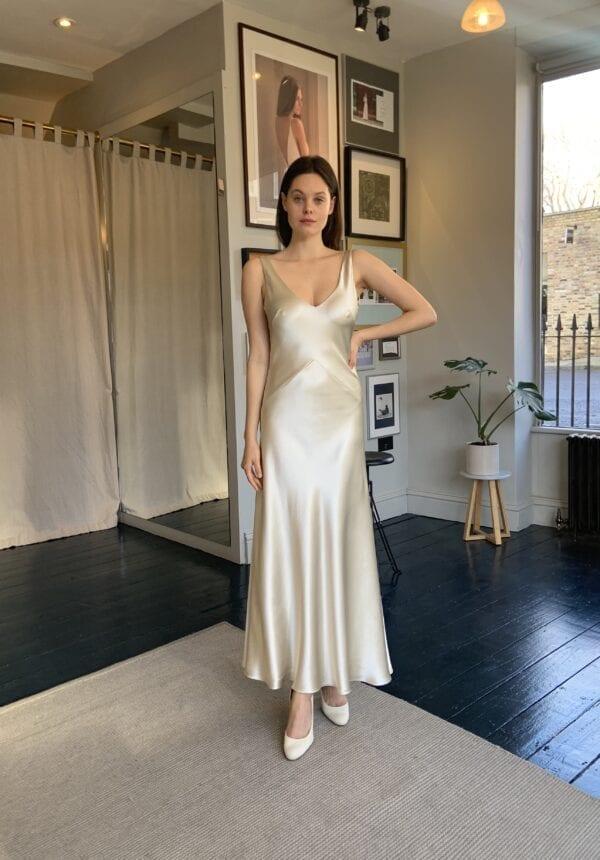 silk civil wedding dress short bias
