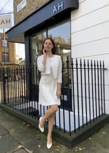 short wedding dress and jacket