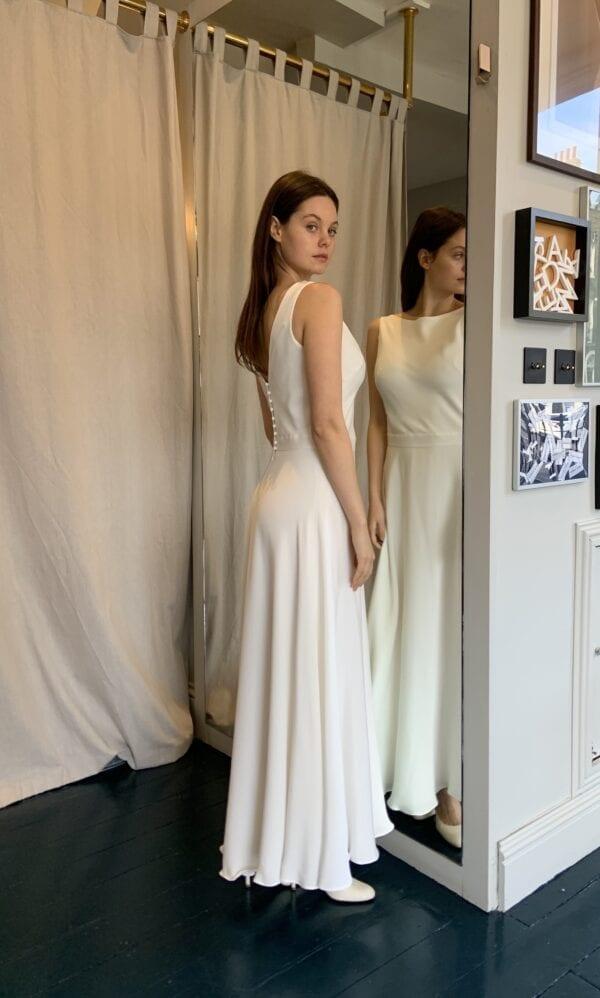 high neck short wedding dress for civil ceremony
