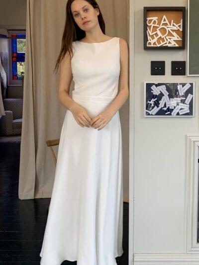 bias wedding dress sleeveless