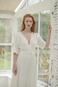 v-neck simple wedding dress with sleeves