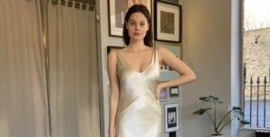 v-neck short simple wedding dress