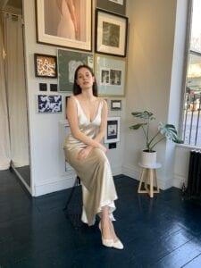 short silk bias cut wedding dress