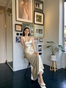 short silk wedding dress