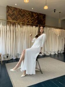 simple silk midi wedding dress