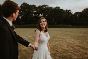 simple silk v-neck wedding dress