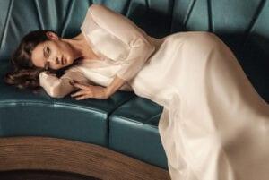long sleeve modern wedding dress