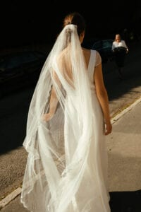 chapel length veil with lace